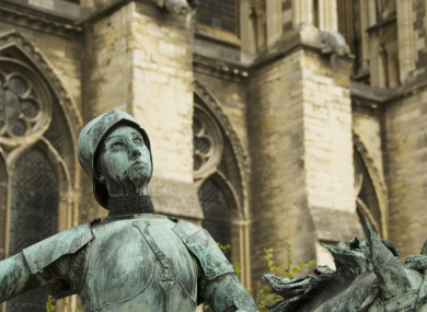 A statue of Joan of Arc outside Reims Cathedral in northern France.