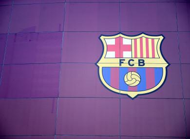 Barcelona crest on the side of the Nou Camp.
