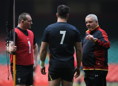 Ken Owens (right) alongside Wales head coach Warren Gatland.