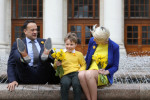 Taoiseach Leo Varadkar, Luke O'Donnell (8) and CEO of the Irish Cancer Society Averil Power promoting Daffodil Day, which is happening on Friday.