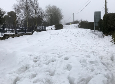 Snow on Cromwellstown Road in Kilteel, Kildare