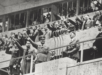Adolf Hitler (second right) at the opening ceremony of the 1936 Olympics in Berlin.