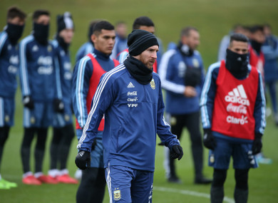 Argentina's Lionel Messi during training at Manchester City Football Academy.