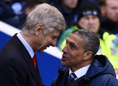 Premier League managers Arsene Wenger and Chris Hughton