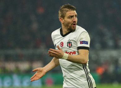 Caner Erkin in action against Bayern Munich in their Champions League Round of 16 first leg clash.