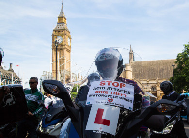 A protest against acid attacks on delivery drivers was held days after John's offences.