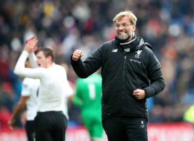 Klopp celebrates Liverpool's late win.
