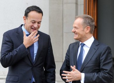 Taoiseach Leo Varadkar and EU Council President Donald Tusk.