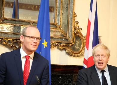 Tánaiste Simon Coveney and British Foreign Secretary Boris Johnson