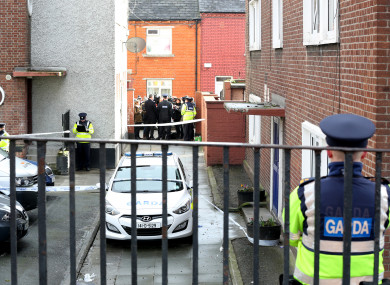 Gardaí at the scene of the shooting of Jason 'Buda' Molyneux in Dublin's north inner city.