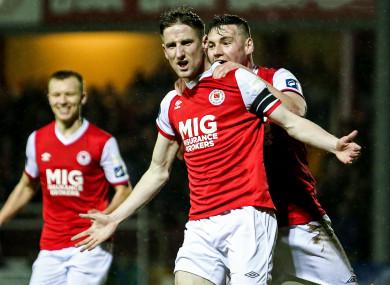 St Pat's captain Ian Bermingham celebrates scoring against Limerick.