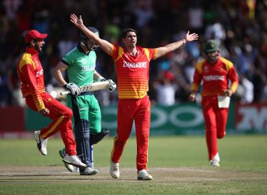 Zimbabwe's Graeme Cremer celebrates.