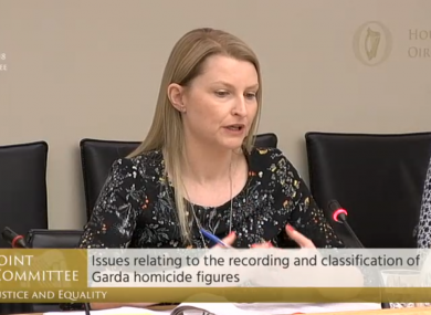 Lois West speaking at the Oireachtas committee.