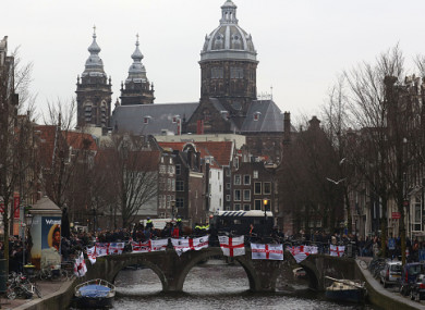 England fans on a canal bridge ahead of yesterday's match.