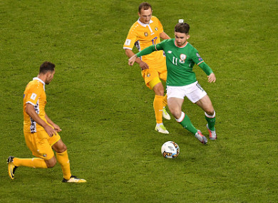 Maguire during his Ireland debut against Moldova.