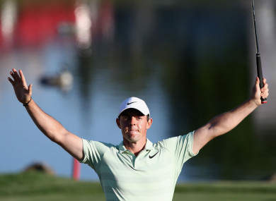 Rory McIlroy celebrates his win at the Arnold Palmer Invitational