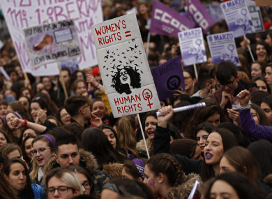 The International Women's Day protest in Madrid, Spain today