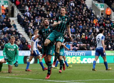Pierre-Emile Hojbjerg celebrates: Southampton are into the last four.