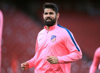 Costa training at the Emirates Stadium today.
