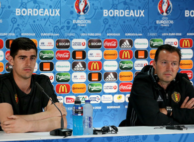 Thibaut Courtois and Marc Wilmots at Euro 2016
