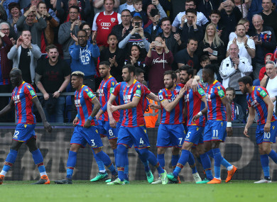 Crystal Palace players celebrate.