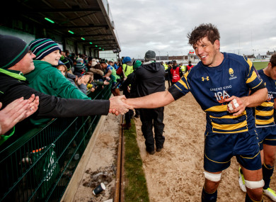 Donncha O'Callaghan acknowledges Connacht supporters after Worcester's Challenge Cup game at the Sportsground earlier this season.