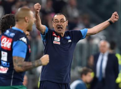 Maurizio Sarri celebrates during last night's game.