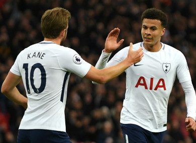 Harry Kane and Dele Alli celebrate.