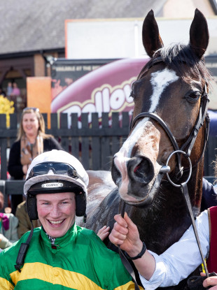 Nina Carberry after winning on Josies Orders today at Punchestown.