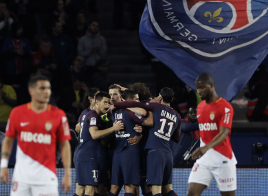 PSG players celebrate during their win over Monaco