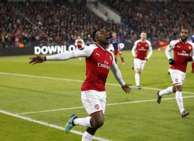 Welbeck celebrates his crucial goal.