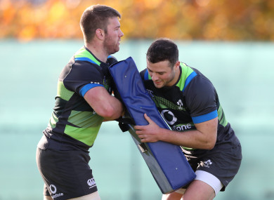 The midlands men in training with Ireland in November.