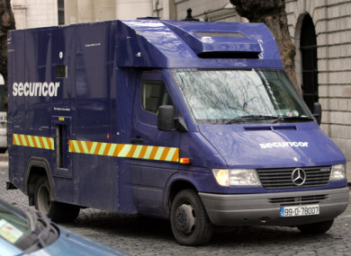 A Securicor van at the Bank of Ireland the day after one of their vans was robbed in Strawberry Beds