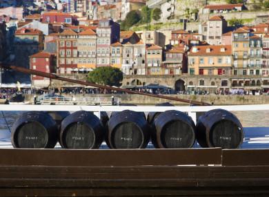 Five wine barrels in Porto, Portugal.