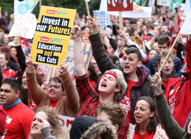 An estimated 20,000 students marched through the streets of Dublin from the Custom House to Merrion Square in protest at Student Tuition fees last year.