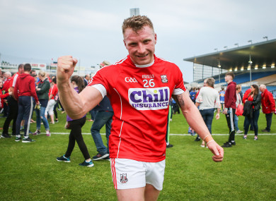 Brian Hurley celebrates after the game on Saturday.