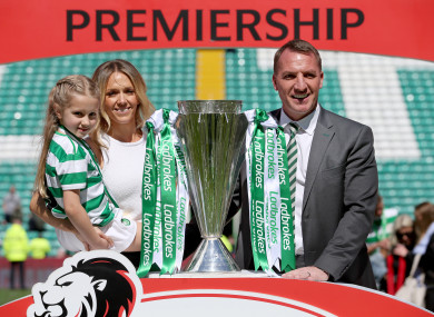 Celtic's Brendan Rodgers with his wife and daughter.