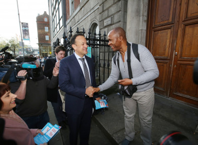 Leo Varadkar out canvassing this morning.