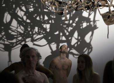 Nudists visiting the Palais deTokyo museum in Paris.