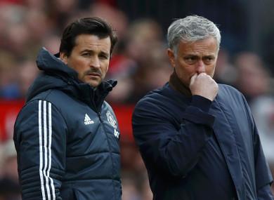 Faria pictured alongside manager Jose Mourinho.