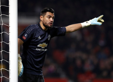 Sergio Romero in action in the FA Cup in January at Old Trafford.