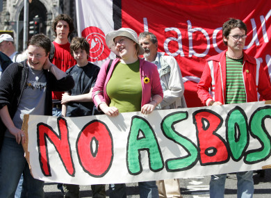Labour Youth during a 2005 protest in Dublin where they called for the Anti Social Behaviour Orders (ASBOs) to be postponed.