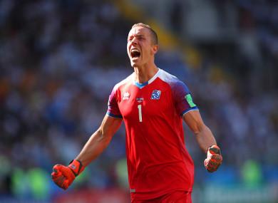 Iceland goalkeeper Hannes Halldorsson celebrates.