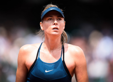 Maria Sharapova pictured competing today.