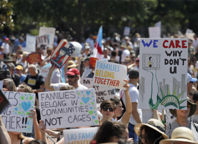 Activists protest the Trump administration's approach to illegal border crossings and separation of children from immigrant parents in Lafayette Square across from the White House in Washington DC.