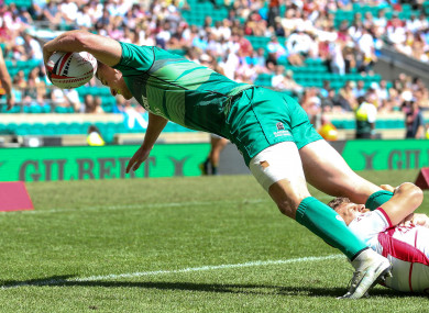 John O'Donnell scored one of Ireland's three first-half tries.