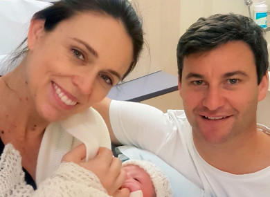 Jacinda Ardern with her husband Clarke Gayford and daughter Neve Te Aroha Ardern Gayford.