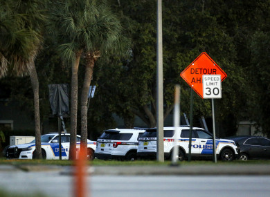 Orlando police at the scene of the hostage situation yesterday.