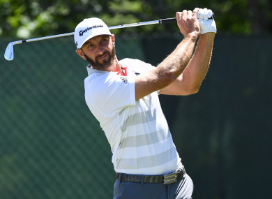 Dustin Johnson tees off the second hole during the first round of the US Open golf tournament at Shinnecock Hills.