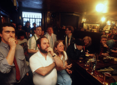 Ireland fans in Toner's Bar in Dublin during the Italia '90 campaign opener with England.